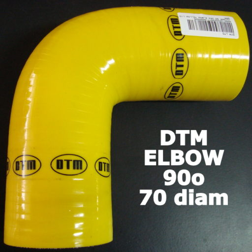 DTM YELLOW SILICON ELBOW – 90o / 70mm-70mm
