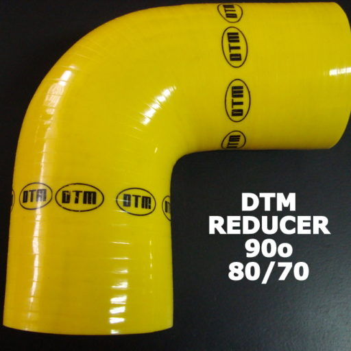 DTM YELLOW SILICON ELBOW reducer- 90o / 80mm-70mm
