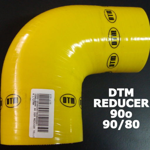 DTM YELLOW SILICON ELBOW reducer- 90o / 90mm-80mm